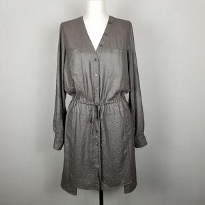 BCBG MaxAzria Olive Metallic Shirt Dress